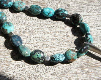 FANG pendant, TURQUOISE necklace, Solid sterling silver & AAA grade gemstones, S.S. cube beads.  organic/ tribal/ natural/Boho/ Southwest/