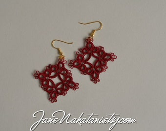 tatting lace earrings -Victorian Red-