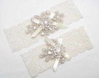 Lace Wedding Garter Bridal Set Ivory White Crystal