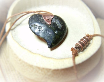Wild Heart - Carved Stone Pendant - Rock and Cotton Cord Necklace