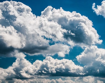 Beautiful clouds in a blue summer sky.  - Nature Photography Fine Art Print or Wrapped Canvas