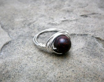 Red Bloodstone Ring, Wire Wrapped Ring, Red Ring, Red Jasper Ring, Wire Wrapped Jewelry Handmade, Gemstone Ring,