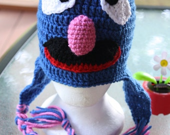 Grover hat. Grover beanie.Crochet Grover hat. Crochet Blue monster hat with braids. Blue moster beanie with braids.Handmade to order.