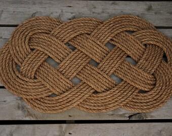 "Nautical Rope Rug - Nautical Rope Rug - Manila Mat - Rope Rug - Knots - Rope Rug - 33"" x 18"""
