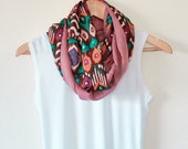 Tribal Infinity Scarf Brown Orange Circle Scarf Printed Two Sided  Pink Earth Tones Infinity Accessories Designscope, Fast Delivery