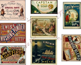 Vintage Labels & Ads 1851 to 1885, Instant Download, Laundry Products, Tobacco. Hotel Restaurant, Soap, Liquor, Tea, Flour - Australia