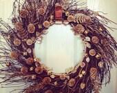ON SALE ~ Winter Wreath, Christmas Wreath, Pinecone Wreath