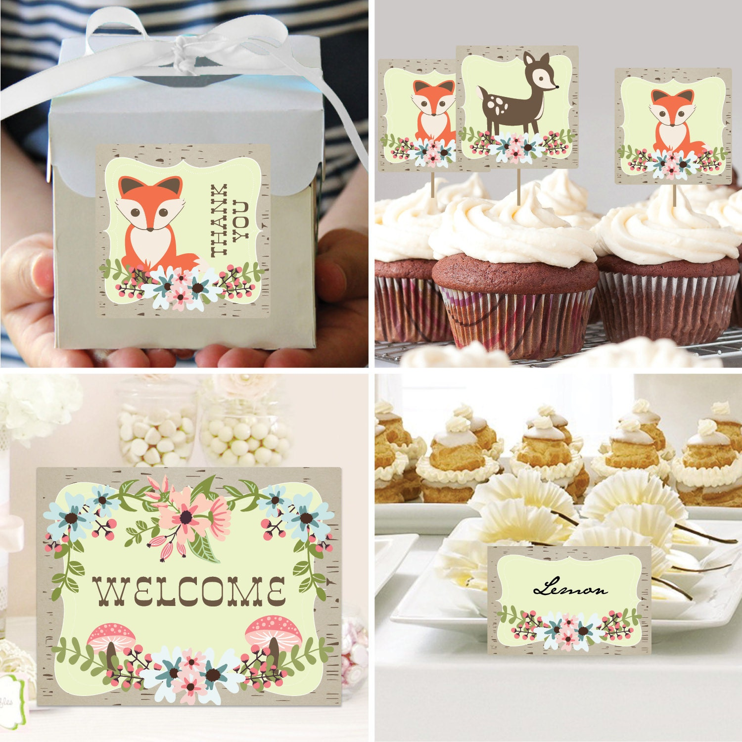Instant Download Woodland Baby Shower Package Woodland