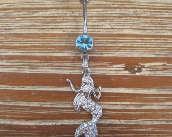 Belly Button Ring - Body Jewelry - Mermaid with Double Lt. Blue Gem Stones Belly Button Ring