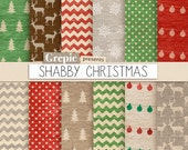"Christmas digital paper: ""SHABBY CHRISTMAS"" with dirty old vintage christmas backgrounds, kraft paper christmas, grungy x-mas, shabby paper"