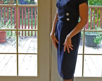 Silky Navy Blue Wiggle Dress Matching Jacket Button Accents Mad Men VLV Rockabilly