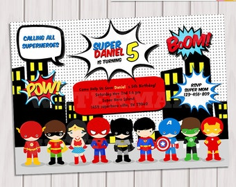 Super Hero Birthday Party - Pop Art Superhero Invitation - Invite Card - Comics Pop art -Personalized Printable pdf