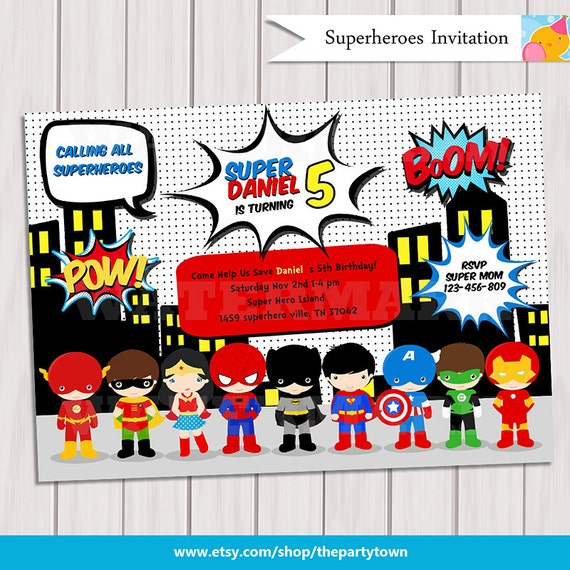 Super Hero Birthday Party Pop Art Superhero Invitation Invite