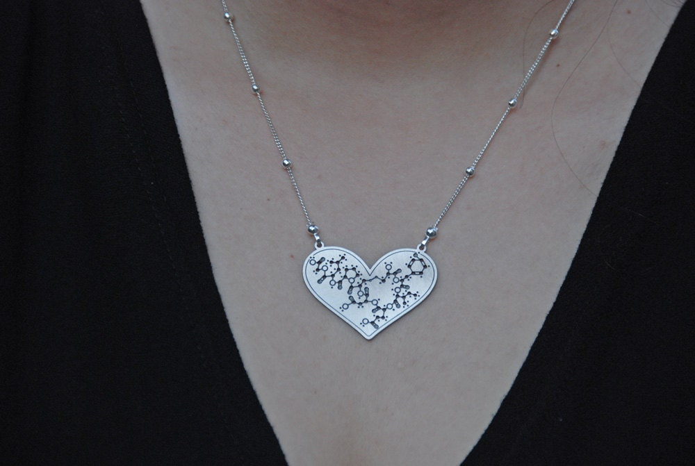 oxytocin molecule silver necklace doula gift