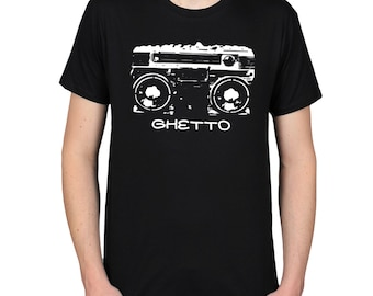 Ghetto Blaster T-Shirt Design, Retro 70s 80s 90s Tee, Nostalgia Shirt, Hip-Hop Rap Music Boombox Graphic Tee