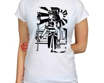 Egyptian Woman T Shirt Ancient Egypt Ankh Cross Hieroglyph T-Shirt