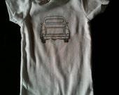 vintage inspired onesie with hand stamped pickup truck