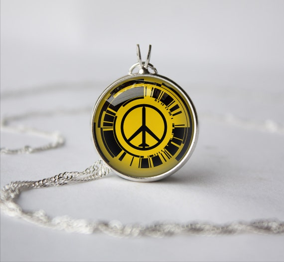 Handmade Metal Gear Solid Peace Walker inspired glass cabochon dome pendant