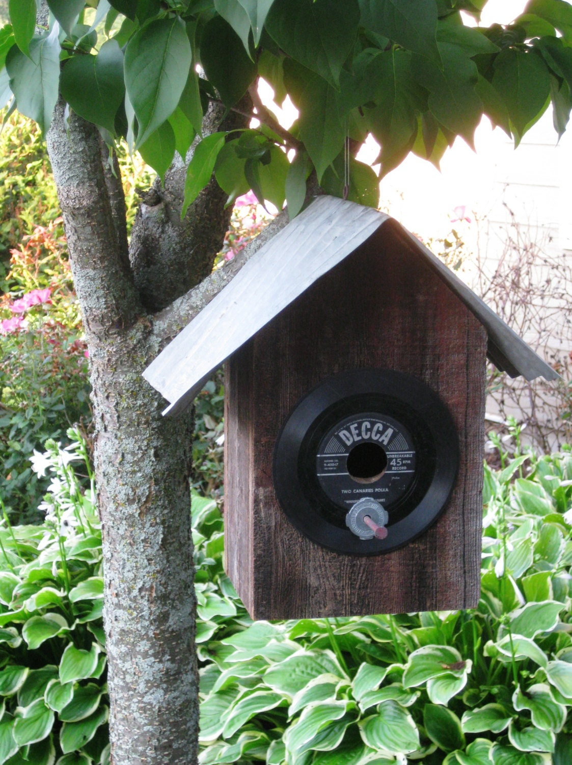 Reclaimed Barn Wood And Upcycled Vinyl Record Bird House With