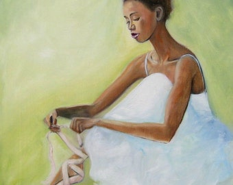 """Ballerina Oil Painting """"Tie One On""""  Original Oil Ballerina Fastening Her Toe Shoes Green Background Happy Art by Tina Petersen"""