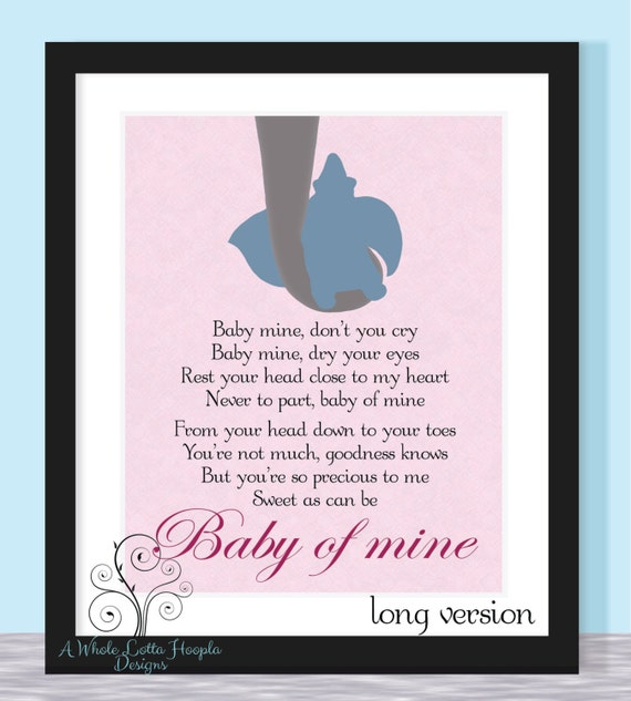 Disney Dumbo Quote BABY OF MINE 8.5x11 Pink By