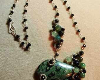 Moss Agate, Black Onyx,  Black Spinel, Green Aventurine and Kambaba Jasper Sterling Necklace - Wire Wrapped, OOAK