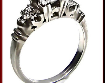 Antique Vintage 1940's Retro Platinum  Diamond Engagement Ring Wedding Ring - ER 392M
