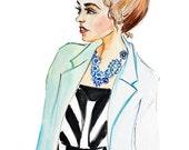 Custom Fashion Illustration. Watercolor Portrait. Original artwork