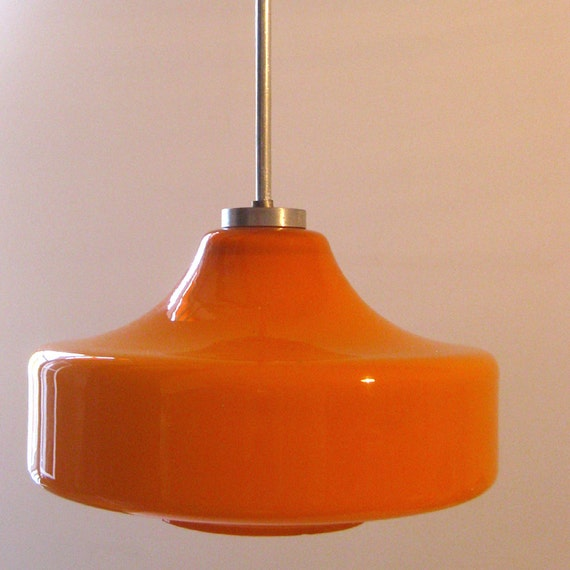 Vintage Pendant Lamp Hanging Orange Glass Long Retro 70s