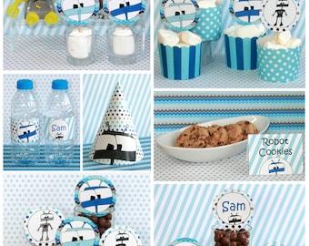 Robot Birthday - Robot Party - 1st Birthday Boy Robots - Robot Party Printables - Robot Birthday Decorations (Instant Download)