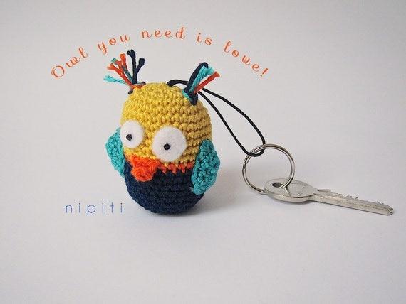 Amigurumi Owl Keychain : Items similar to Crochet keychain - OWL Amigurumi Keyring ...