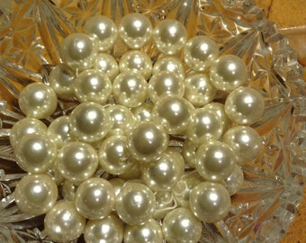Large faux pearl bead strand 34""