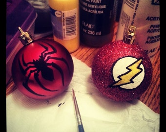 Spiderman and Flash SuperHero Ornaments great for a superhero Christmas.