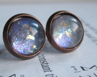 Quantum  - Earring studs - science jewelry - science earring - galaxy jewelry - physics earrings - fake plugs - plug earrings - nebula studs