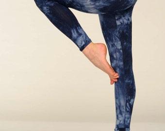 Leggings Blue Indigo Tie Dye Cotton Yoga Pants - Yoga Leggings - Bohemian Work Out Leggings yoga Pants Pilates - Print Leggings - Made in UK