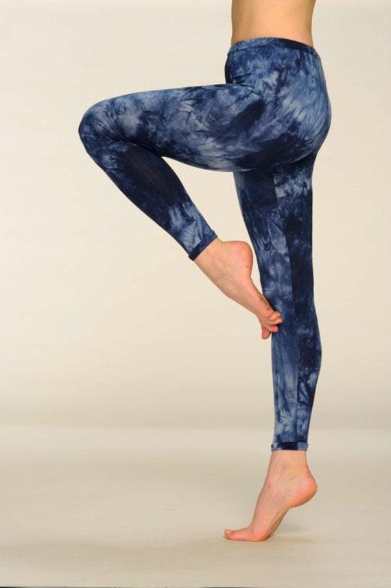 Leggings Blue Indigo Tie Dye Cotton Yoga Pants Yoga Leggings