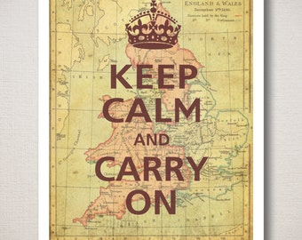 Keep Calm and Carry On Art Print with Old Map Background 11x14