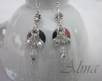 Silver Dangle Earrings, Silver Glass Beaded Dangles, Silver Disc w Glass Crystals, Dangle Earrings, Silver Crystal Earrings, Crystal Earring