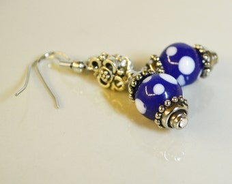 Dotted Cobalt Earrings / 2 inches / Blue, White, Glass, Silver, Scrolls