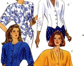 Butterick 5387 Fast Easy Blouses Tops Size 6 8 10 Uncut Vintage Sewing Pattern 1991