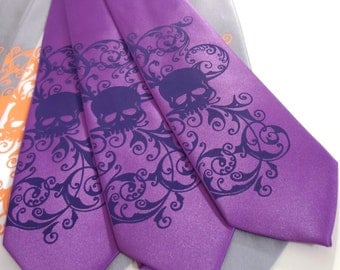 Purple Skull mens necktie, microfiber skull tie