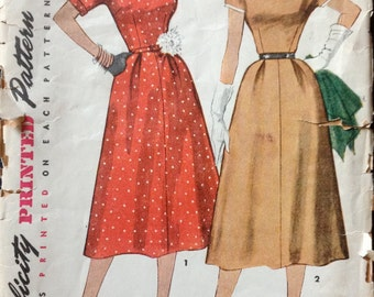 Simplicity 4655 1950s DRESS Pattern Shaped Neckline Detachable Neck Sleeve Trim Womens Vintage Sewing Pattern Size 14 Bust 32 OR 16 Bust 34