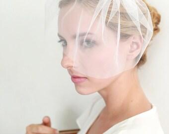 Crystal veil, wedding veil, bridal veil, mini veil, tulle face veil, blusher - style 302