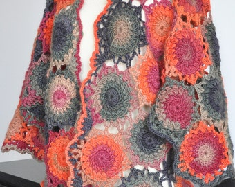 Motif Cardigan - Wool- Crochet Multicolor Motif Women Cardigan/Shrug/Cape