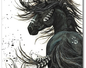 Majestic Horses - Black Stallion Spirit Horse Native Feathers - Prints by Bihrle mm65