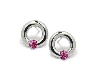 Pink Sapphire Stud Tension Set Round Earrings in Steel Stainless