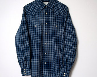 Shirt Men's Vintage Western Shirt Men's Blue Plaid Checkered Cowboy Pearl Snap Button Dude Shirt Size Small