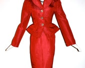 CHRISTIAN LACROIX Vintage Red Peplum Skirt Suit Red - AUTHENTIC -