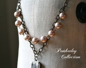 Pearl Necklace with Faceted Stone, Swarovski, Estate Style Necklace, Statement Necklace, Blush Necklace