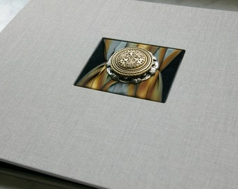 Photo Album, Heirloom Quality, Antique Button Medallion (c.1890), Platinum Grey with Amber, Scrapbook Style Photo Album